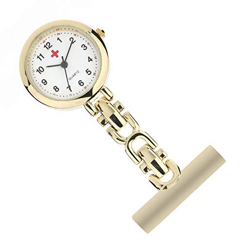 Cxypeng Uhren,Krankenschwester FOB,Mode süße Krankenschwester Brust Uhr hängende Uhr Quarz Taschenuhr medizinische Tabelle-Small-Gold,Pulsuhr Krankenschwester