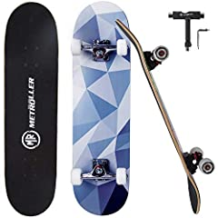 "Sturdy & Solid: 31"" x 8"" complete skateboard, 7 layers Canadian maple wood deck match with 5 inch reinforced aluminum alloy trucks provide you solid and reliable support. Maximum carrying weight of the skateboard is up to 220 pounds. Smooth Ride: Equ..."