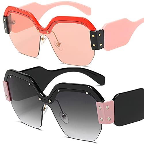 HFSKJ Paquete de 2 Gafas de Sol, Gafas de Sol de una Pieza Gafas Personalizadas con protección UV de Montura Grande Las Gafas Populares Son adecuadas para Hombres y Mujeres,F