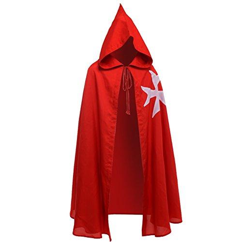 BLESSUME Medieval Caballeros Hospitalario Capa Negro Larp Capa con Cruz Blanca (Rojo)