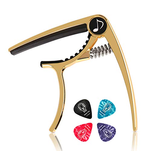 Donner DC-2 Guitar Capo for Acoustic and Electric Guitar,Ukulele Capo Golden