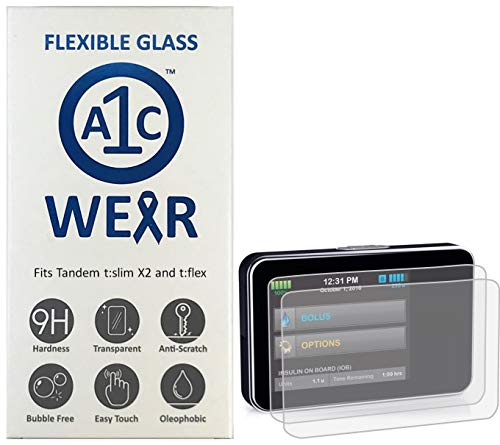 A1C WEAR - 9H Flexible Glass Screen Protector Compatible with Tandem tSlim X2 and tFlex Insulin Pumps - Won't Crack or Chip - Anti-Scratch Anti-Fingerprint - 2 Pack