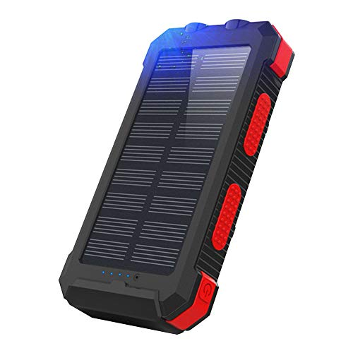 Solar Charger Solar Mobile Power Wireless Portable Charger 26800mAh Mobile Power Bank Compass Mobile Phone Solar Energy for Outdoors Red