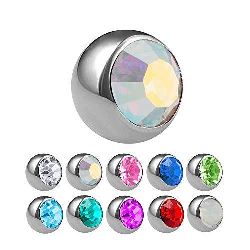 Treuheld® | Silberne Titan Piercing Kugel mit Gewinde mit Kristall - [02.] 1.2 x 2,5 mm - Crystal