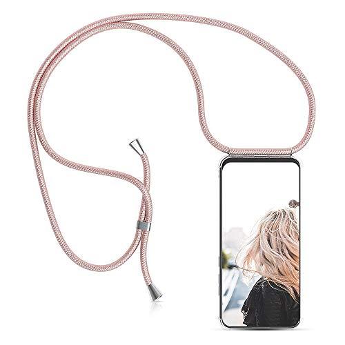 MXKOCO Funda con Cuerda para LG K50/Q60 Carcasa de movil con Cuerda para Colgar - Funda con Correa para Hombro y Cordón Colgante/Carcasa Banda con Cordon para Llevar en el Cuello-Oro Rosa