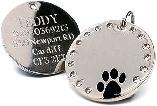 Chapa de identificación para mascota personalizable de 30 mm, redonda, con cristales y pata de perro, grabada, para dejar detalles de grabado, por favor lee la descripción del producto al final de la página.