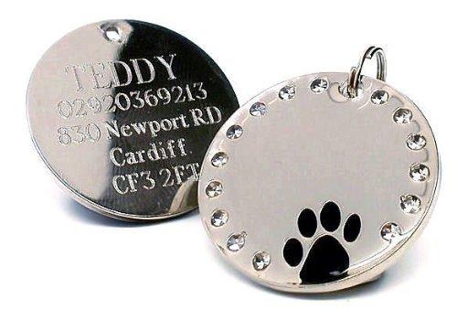 Chapa de identificacin para mascota personalizable de 30 mm, redonda, con cristales y pata de perro, grabada, para dejar detalles de grabado, por favor lee la descripcin del producto al final de la pgina.
