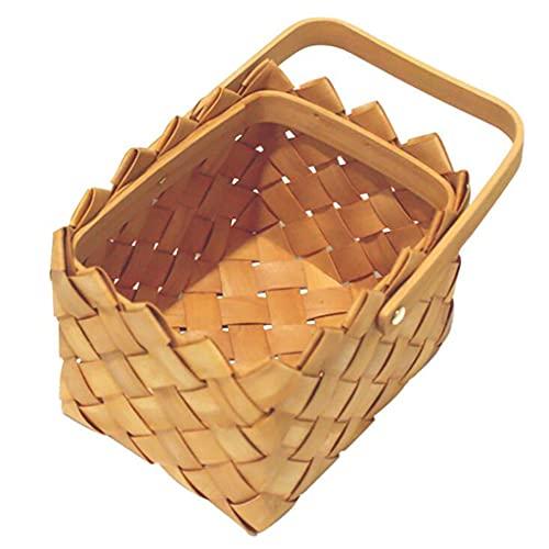 ZNBJJWCP Cesta de mimbre de mimbre de sauce, cesta de pícnic para camping, compras, contenedor de almacenamiento de frutas, herramientas de cocina (tamaño grande:
