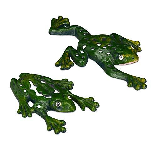 Relaxdays Set de Figuras para jardín, Dos Ranas, Decoración de Exterior, Resistente, Hierro Fundido, 2 Uds, Verde