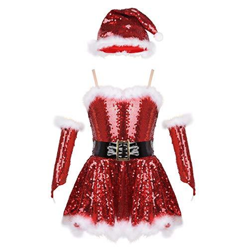 TiaoBug Robe Noël Enfant Fille Dentelle Robe Princesse Soirée Manche Longue Paillettes Rouge Robe Mariage Demoiselle d'honneur Déguisement Mère Noël Costume Santa Bonnet 2-12 Ans (11-12 Ans, B Rouge)