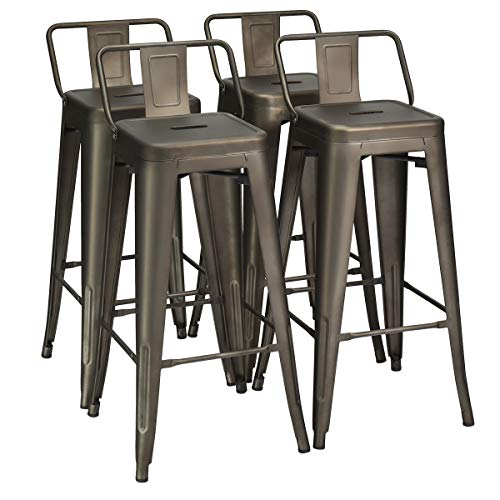COSTWAY Metal Bar stools Set of 4, with Removable Back, Cafe Side Chairs with Rubber Feet, Stylish and Modern Chairs, for Kitchen, Dining Rooms, and Side Bar (Gun, 30'')