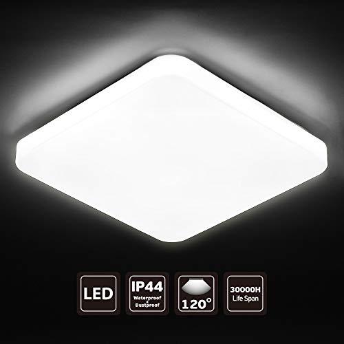 Seediq LED Plafonnier 24 W Moderne Carré,Lampe de Plafond Blanc Froid 5000K, lumière idéale pour la salle de bain la chambre la cuisine le salon le balcon et le couloir [Classe énergétique A + +]