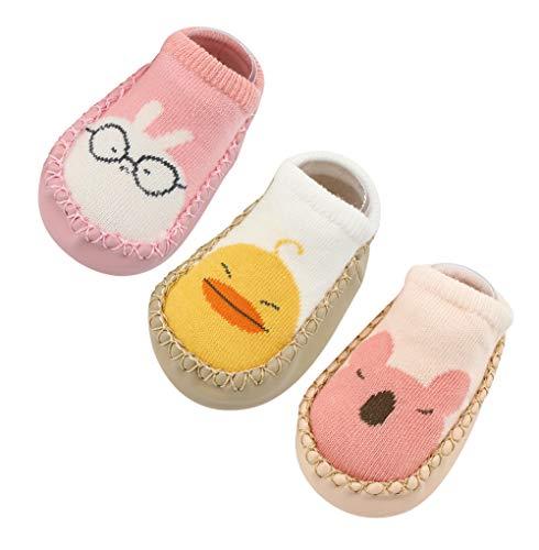 Happy Cherry 3Pcs Calcetines Antideslizantes para Bebés Recien Nacido Aprender Andar Zapatillas de Bebés para Primeros Pasos 11cm 0-6 Meses Rosa