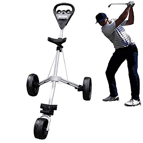 XFY Golf Push Cart 3 Wheels Foldable Hand Cart, Golf Push/Pull Trolley with Score Board, Quick Open and Close Golf Pull Cart