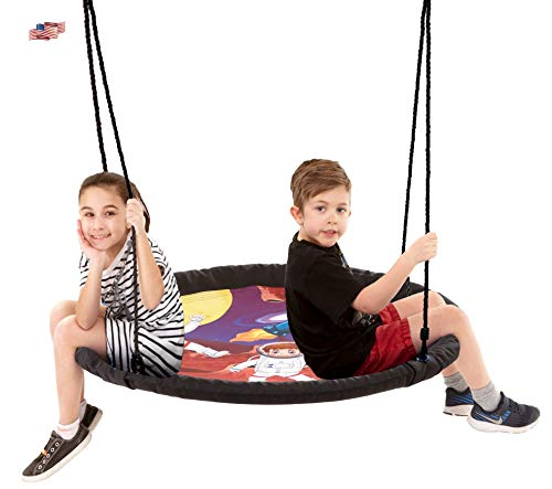Smartsome Flying Saucer Tree Swing - 40 Inch Redesigned Tire Swing for Hours of Outdoor Fun, Patented Quick and Easy Assembly, Great Kids Swing for Trees Or Playsets. (Rainbow)