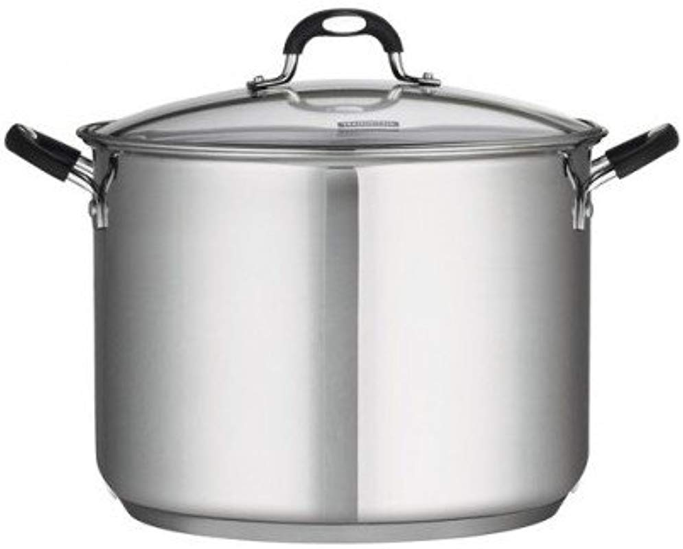 22 Qt Tramontina Stainless Steel Covered Stockpot Induction Ready 3ply Base Clear Lid