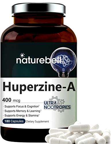 Huperzine A 400mcg Per Serving, 180 Capsules, (Huperzine A Supplement), Supports Focus, Cognition, Memory and Learning Ability, No GMOs