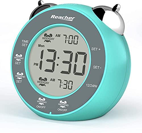 REACHER Doppia Sveglia Digitale con Modalità Giorno feriale Fine settimana, funzione sonnellino attivata tramite tocco, doppia suoneria, facile da usare, piccolo orologio a batteria per bambini