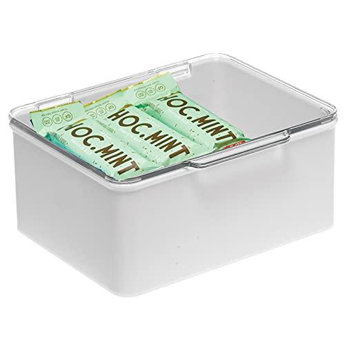 mDesign Caja con tapa para la cocina, la despensa o el despacho – Cajones de plástico sin BPA apilables – Cajas de ordenación compactas para artículos del hogar – gris claro/transparente