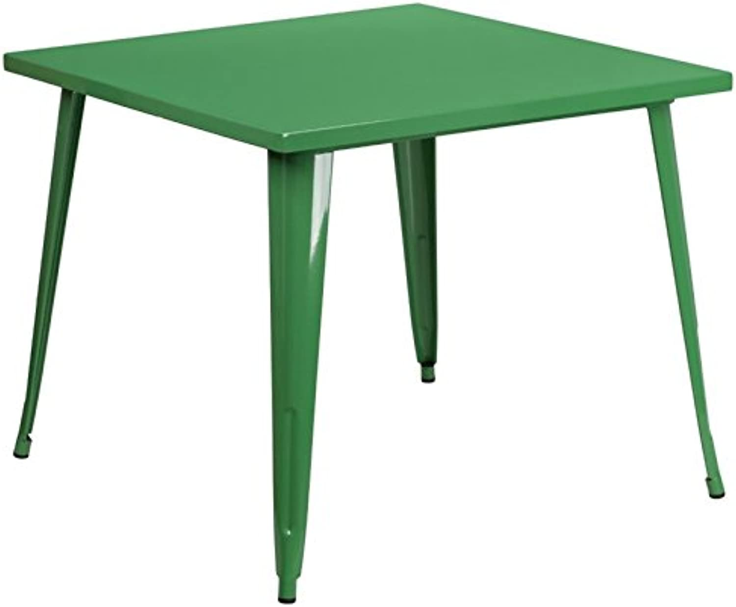 Bowery Hill 35.5  Square Metal Dining Table in Green