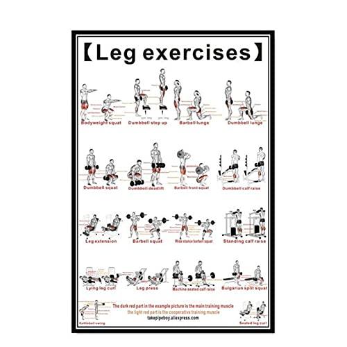 FUXUERUI Entrenamientos con mancuernas y ejercicio de piernas con barra cuadro de arte de pared pintura en lienzo póster impreso para gimnasio decoración de pared para el hogar 40x60cm sin marco
