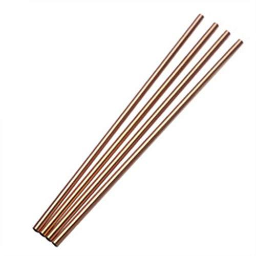 Lot de 50 pailles en acier inoxydable réutilisables et courbées en métal pour gobelet de 76 cl Rose Gold Straight