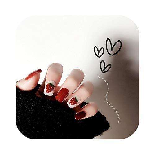 French Nail Art Tips 24 Stück Erdbeer-Designs Falsche Nagelspitzen Pressen auf falsche Nägel mit niedlichen Karton-Designs Kurze Kawaii-Nagel-falsche Tipps-