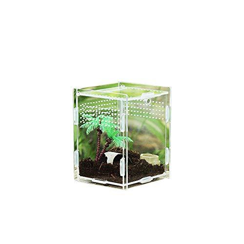 waysad Terrarium Transportbox,Fütterungsbox Aus Acryl,Reptilien-Zuchtbox Transparent Belüftet,Terrarium Zubehör Transparente Reptilienzuchtbox, Acryl Schieberzuchtbox