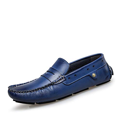 TiandaoMXL Drive Müßiggänger Für Männer Casual Low Top Britischen Stil Und Komfortable Soft OX Leder Runde Zehenboot Mokassins Schuhe (Color : Braun, Size : 40 EU)