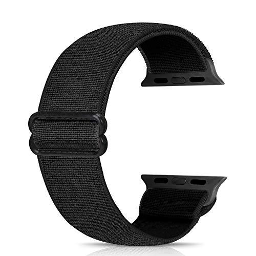 Ecogbd - Cinturino di ricambio elastico compatibile con Apple Watch Strap 38 mm, 40 mm, 42 mm, 44 mm, morbido tessuto di cotone, compatibile con iWatch Series 6, 5, 4, 3, 2, 1, SE(42 mm/44 mm, nero)