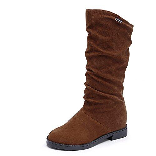 Damen Flat Heels Schuhe SHOBDW Frauen Herbst Winter Stiefel Sweet Boot stilvolle Flache Flock Schuhe Schnee Stiefel Elegant Simplicity Solid Klassisch Wildleder Stoff Lange Röhre Stiefel