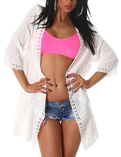 Angies Glamour Fashion Chaqueta de playa con detalles de ganchillo, beige, M-L