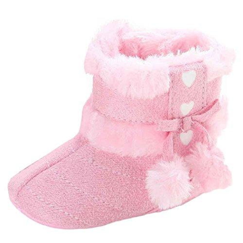 Lenfesh niño niña Primeros Zapatos para Caminar Zapatos de Bebé,Suave Calentamiento Botas Zapatos Antideslizantes Nieve Botas Invierno (Rosado #3, 11cm(0-6Mes))