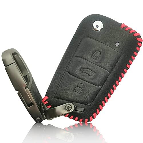 FoilsAndMore Hülle kompatibel mit VW Golf 7 Autoschlüssel 3-Tasten Skoda Seat - Leder Schutzhülle Cover Schlüsselhülle in Schwarz Rot