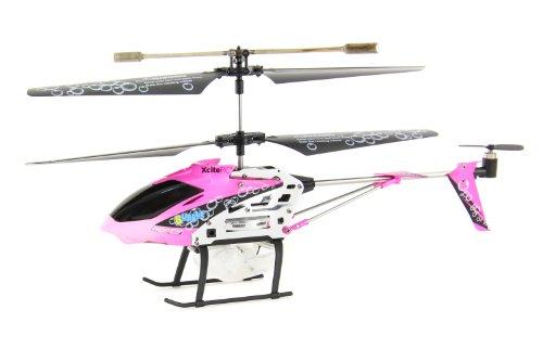XciteRC 12011000  RC Hubschrauber Flybar 180SB Coax Bubble - 3.5 Kanal RTF mit Infrarot Fernsteuerung, S, pink
