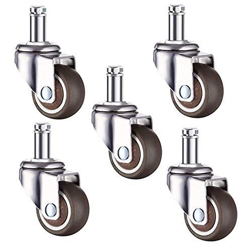JXJ 5 Veces;Ruedas giratorias para sillas de Oficina 50/38 mm Rueda de Repuesto Rueda de Goma para Muebles Rueda giratoria silenciosa de 360 Grados 2/1.5 Pulgadas marrón