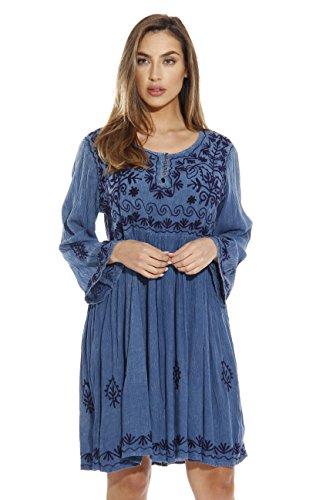 Riviera Sun Tunic Dresses for Women 21643-MEDDENIM-L