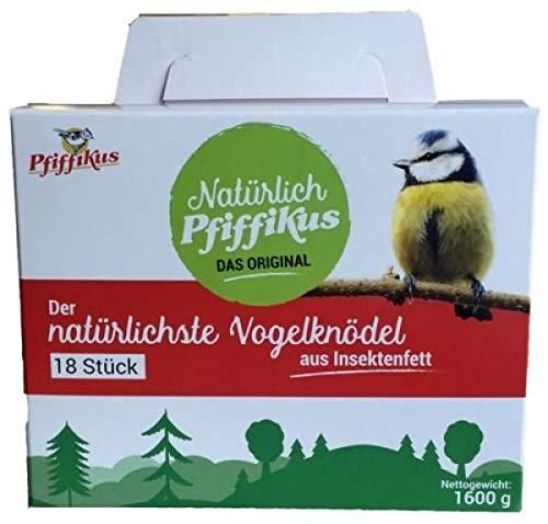 Pfiffikus Natürlich nachhaltige Meisenknödel ohne Netz – 18 Stück – aus Insektenfett – Premium-Wildvogelfutter zur ganzjährigen Fütterung