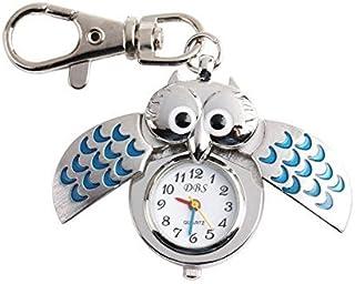 nikgic Hibou Montre De Bracelet Anneau de porte-clés alliage Argenté avec chaînes artisanat
