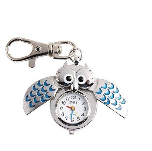 Nikgic Búho Reloj de Pulsera Anillo de Llavero Aleación Plateada con Cadenas Artesanía