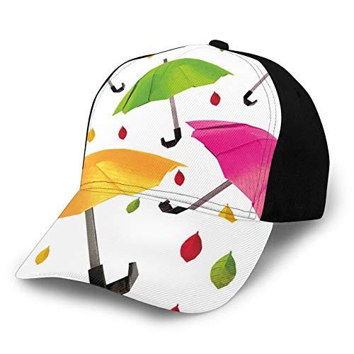FULIYA Gorra de béisbol unisex de algodón de perfil bajo lavada en blanco con diseño de paraguas de varios tamaños con gotas de hojas de agua, clima y seguridad