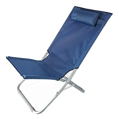 HHTX Sillón reclinable Sillón de salón Relax Silla Plegable Tumbona Pequeña casa al Aire Libre Camping Jardín Sillas de Cubierta Silla con Respaldo Oficina portátil Playa-Azul Marino