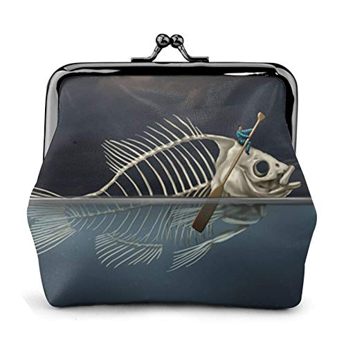 Man with Fish Skeleton in The Sea Kayaking Coin Purse Wallet Bule -Lo Small Leather Change Pouch Gift for Women
