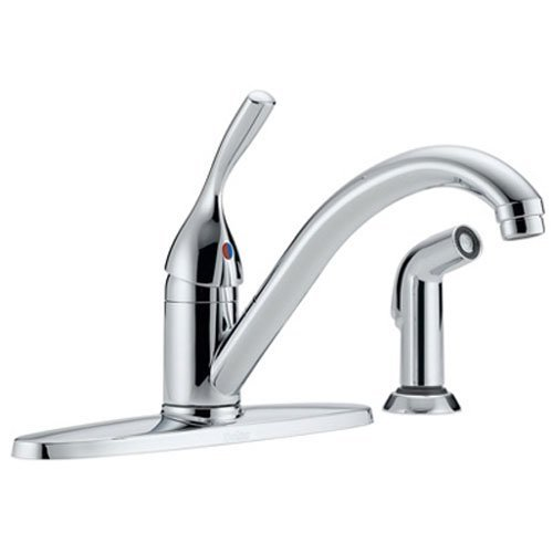 Delta Faucet Classic Single-Handle Kitchen Sink Faucet with Side Sprayer in Matching Finish, Chrome 400-DST