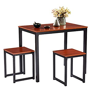 Henf 3-Piece Pub Table Set Kitchen Dining Table with 2 Chairs Counter Height Dining Set Bar Table Set Breakfast Nook for Kitchen Dining Room and Living Room  Cherry Wood Color