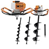 52CC Gas Powered Post Hole Digger Earth Auger 2.4hp 2-Stroke 00RPM Power Engine Planting Machine with 3pcs Earth Auger Drill 3 Bits 4' 6' 8'' and 12'' Extention Rod