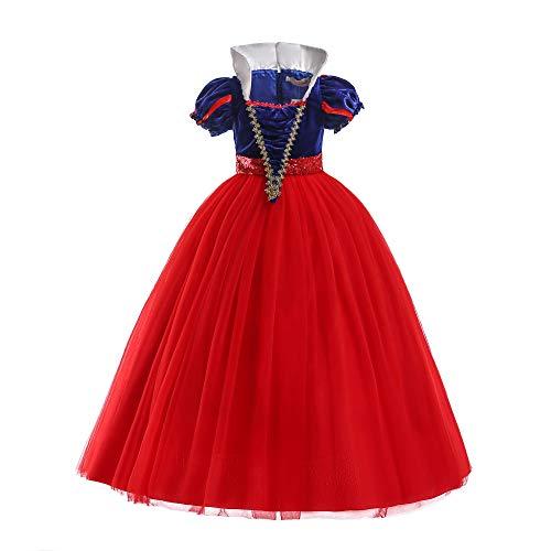 ELSA & ANNA® Princesa Disfraz Traje Parte Las Niñas Vestido (Girls Princess Fancy Dress) ES-SNWRED03 (5-6 Años, Rojo)