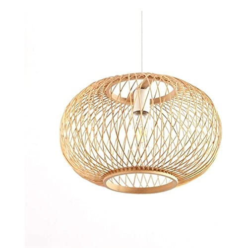 KMDJ Bamboo Art Bamboo Chandelier Chinese Retro Creative Personality Farmhouse Chandelier Hotel Decoration Wicker Rattan Lampshade Woven Lampe