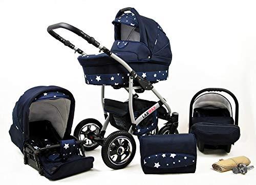 Lux4Kids Kinderwagen 3 in 1 Kombi Komplettset mit Autositz Isofix 2in1 Babywanne Babyschale Buggy Buggy Baby Larmax Navy Blue Star 4in1 Autositz +Isofix