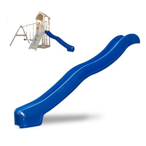 Serina Spielturm Rutsche Zubehör 300 cm Wellenrutsche Anbaurutsche Kletterturm blau (Blau 300 cm)